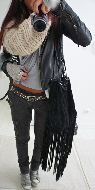 jeans grey t-shirt grey jeans belt leather jacket style studs gloves black silver coat cool bag camera scarf knitted scarf white shoes purse pretty zip jacket phone cover