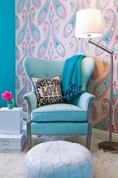 home accessory,armchair,lamp,girly,home decor,living room,vintage decor,metallic lamp,paisley,wall paper,chair,pillow,love
