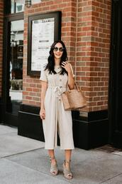 outfits&outings,blogger,jumpsuit,shoes,sunglasses,bag,handbag,fall outfits,sandals