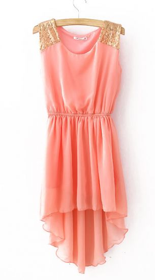 Pink Sequined Shoulder Sleeveless Dipped Hem Dress