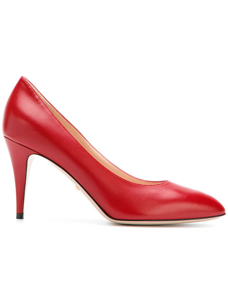 gucci women classic pumps leather red shoes