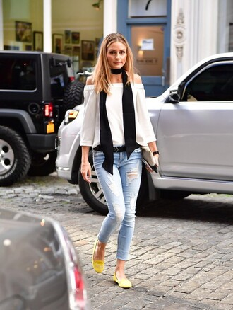 scarf skinny scarf black black scarf olivia palermo celebrity blogger celebrity style denim skinny jeans