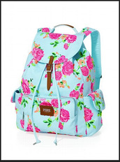 bag,backpack,floral,blue,girl,girly,pink,victoria's secret,floral backpack,bookbag,back to school,blue bag with colorful flowerss,pin,flowers