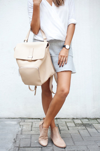 a pair and a spare blogger top bag grey blouse leather backpack skirt beige watch boots chelsea boots classy wishlist