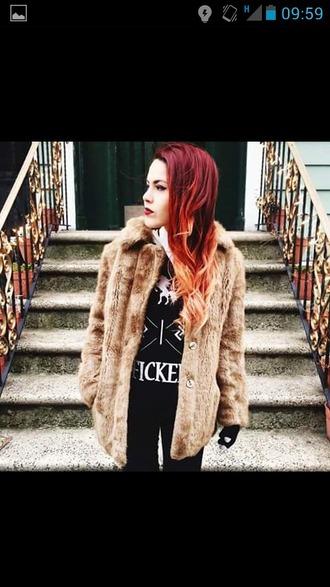 jacket fur faux fox lehappy indie grunge indie jacket grunge jacket