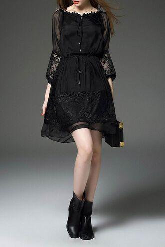 dress dezzal black black dress goth vintage girl gothic lolita lace dress
