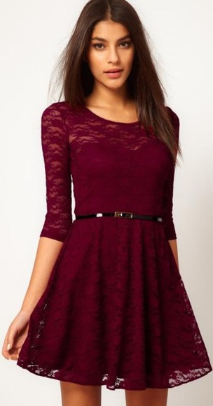 belt gorgeous dress fashion skater dress mini dress lace lace dress cute girly maroon red