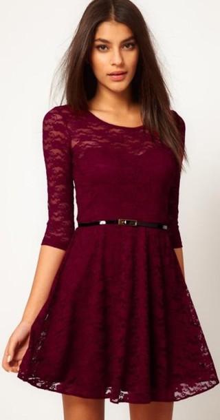 36f84862f10e dress fashion skater dress mini dress lace lace dress cute girly gorgeous  burgundy red belt