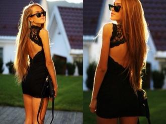 dress black bodycon black lace