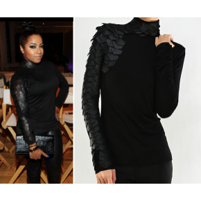 Final Preorder Celebrity Black Leather Sleeve Turtleneck