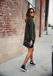 sincerely jules,blogger,oversized sweater,khaki,high top sneakers,knitted sweater,belt,bag,cardigan,jewels,top,dress,sweater dress,sweater,green,thick sweater,warm,sexy,cool