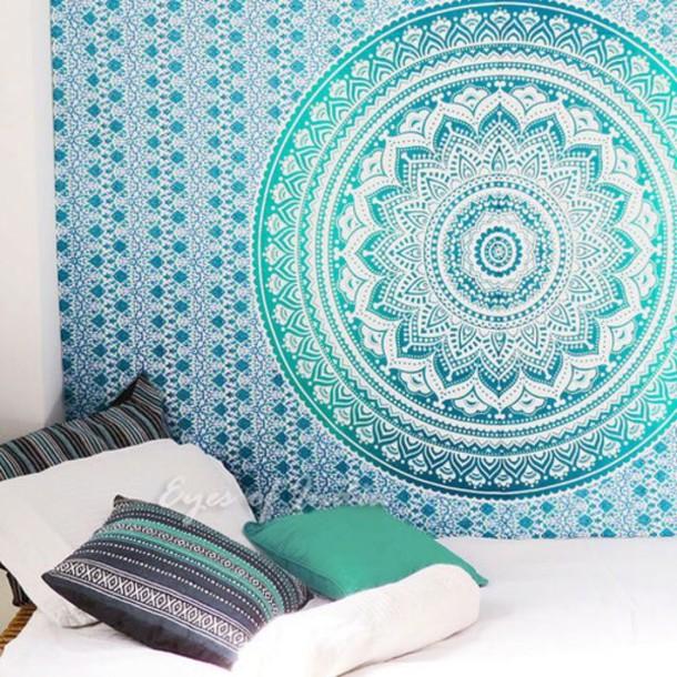 home accessory tapestry mandala aqua tumblr home decor wheretoget. Black Bedroom Furniture Sets. Home Design Ideas