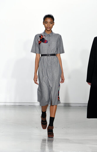 dress grey shirt dress midi dress fashion week 2015