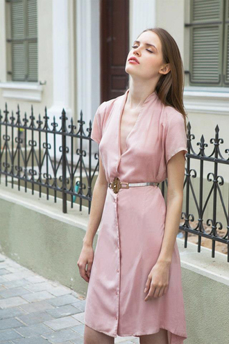 dress pink dress wrap dress silk dress