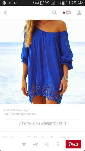 dress blue lace bottom off the shoulder dress