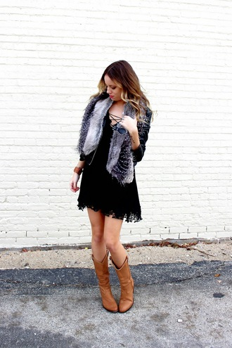 the whiskey wolf blogger jacket faux fur little black dress brown leather boots fall outfits