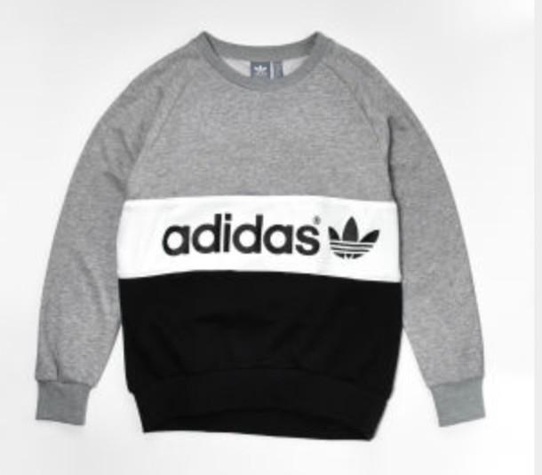 sweater adidas grey blue white jumper hoody black 9b44b8700bf8