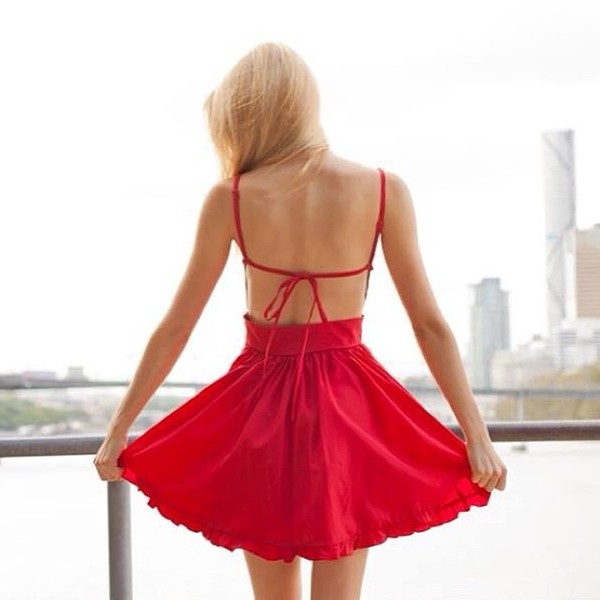 lady luck red dress tie back ruffle hem ask grace skater dress shopfashionavenue dress