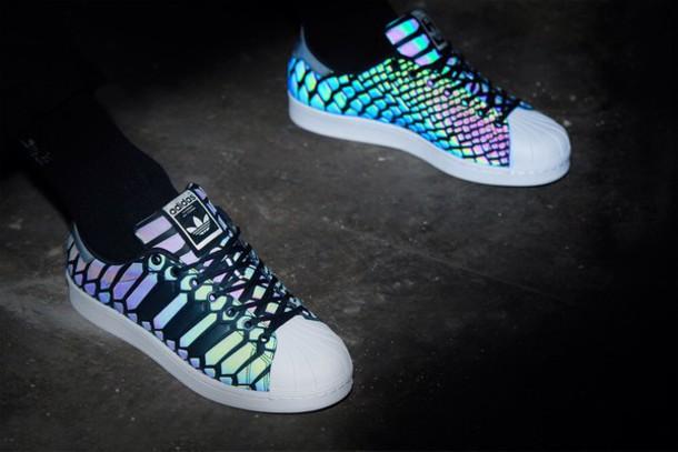 shoes adidas adidas superstars xeno adidas superstar xeno glow in the dark holographic girl girly girly wishlist adidas shoes adidas originals sneakers glow in the dark shoes