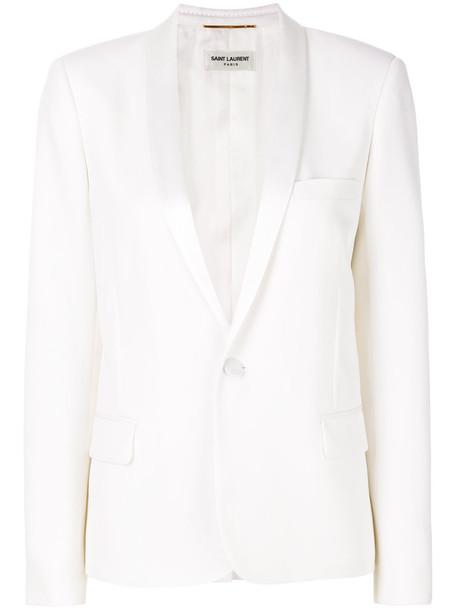 Saint Laurent blazer women classic white cotton silk wool jacket