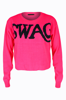 SWAG Slogan Jumper, Luv2nv Knitwear, Pink SWAG Jumper, Casual Fashion Knitwear.