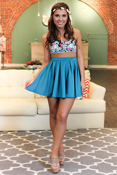 Teal Skater Skirt Uoionline Com Women S Clothing Boutique