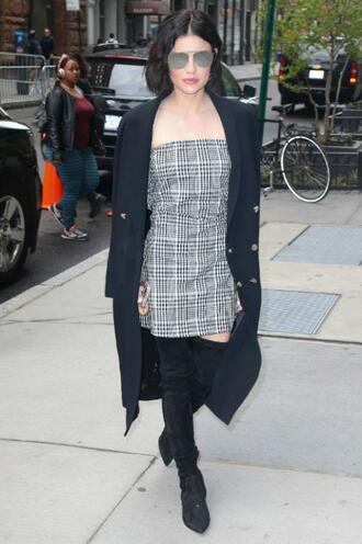 dress lucy hale strapless plaid boots