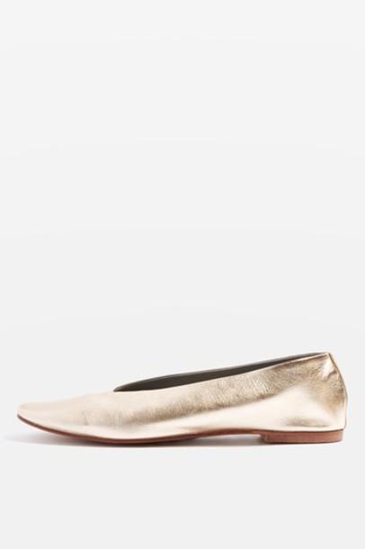 Topshop ballet pumps gold shoes