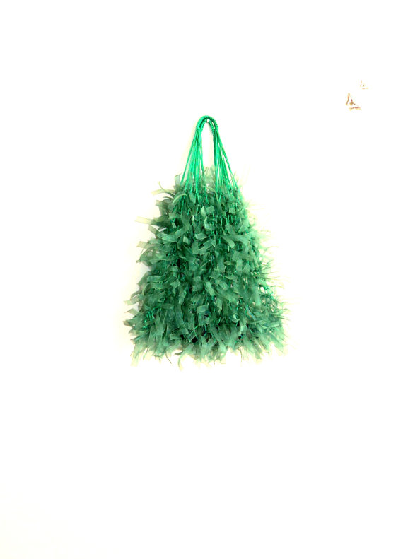 Hairy Green Net BagFree Shipping by bestbazaar on Etsy