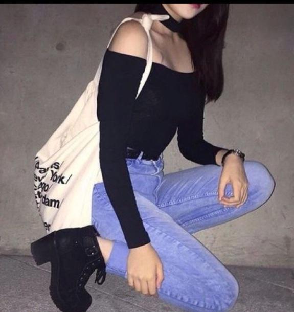 bag black choker jeans korean fashion