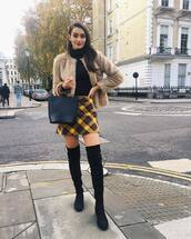 jacket,faux fur jacket,skirt,plaid skirt,over the knee boots,black boots,mini skirt,black bag,faux fur coat,black turtleneck top