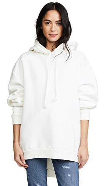AGOLDE hoodie high high low white sweater