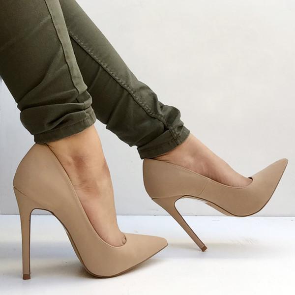 Shoes: heels, pumps, pointed pumps, pointed heels, nude, skinnies ...
