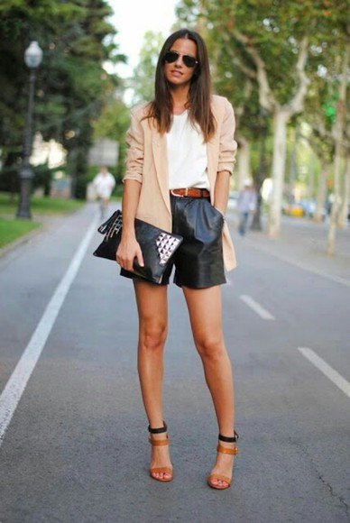 black cute leather leather pants shorts High waisted shorts sexy