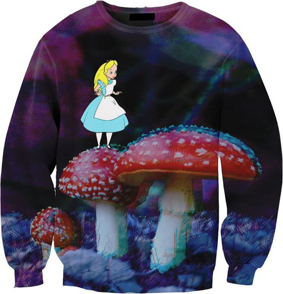 alice in wonderland sweater pullover blanc rouge violet bleu