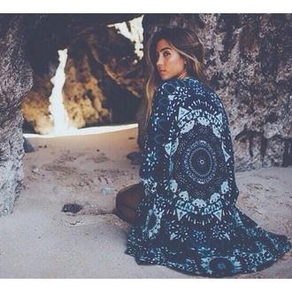 blouse hippie boho necklace grunge kimono blue dress fashion style girl