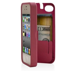 New iphone 5 eyn hard kickstand wallet phone travel case pink