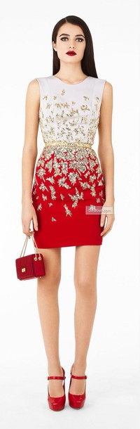 dress white top red bottom gold sequins gold belt