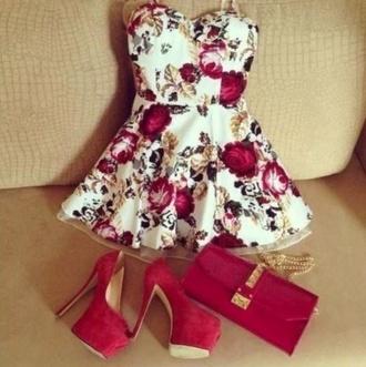 dress red floral floral dress high heels shoes bag