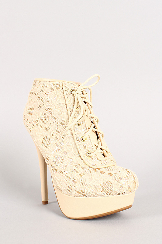90 crochet glitter lace up platform bootie