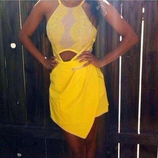 dress stra yellow lace dress cut-out symmetrical