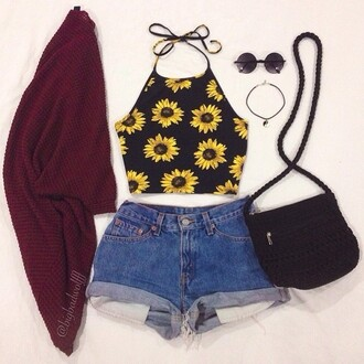 t-shirt tank top top sunflower yellow summer outfit boho girly gypsy cardigan shirt bag
