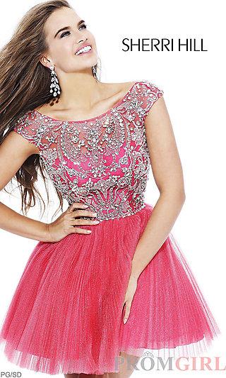 Sherri Hill Party Dress, Cap Sleeve Dress, Short Dress- PromGirl