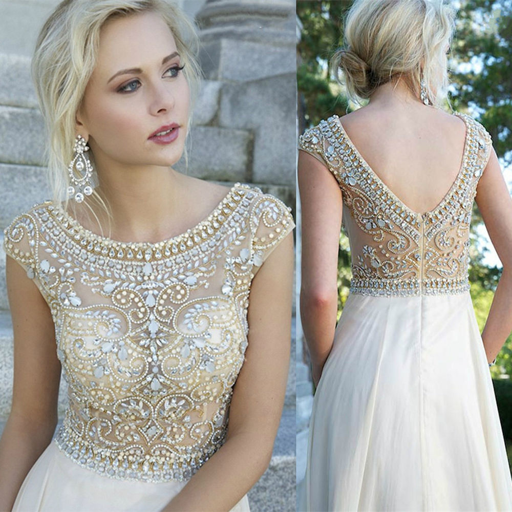 Crystal Beaded Prom Ball Dresses with Cap Sleeve Long Formal ...