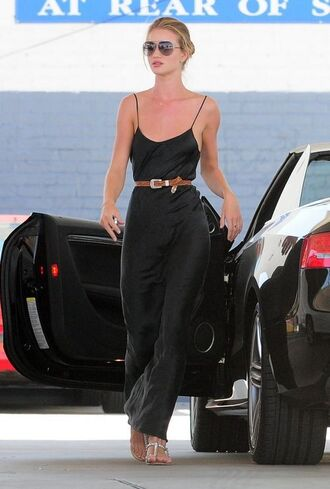 dress black dress black slip dress slip dress maxi dress spaghetti strap spaghetti straps dress summer dress summer outfits waist belt belt brown belt sandals flat sandals silver sandals silver low heel sandals sunglasses aviator sunglasses rosie huntington-whiteley celebrity style celebrity model off-duty