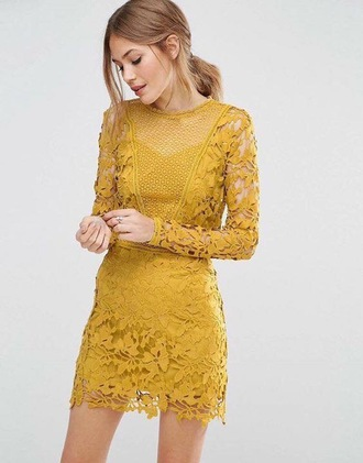 dress clothes lace dress mustard dress