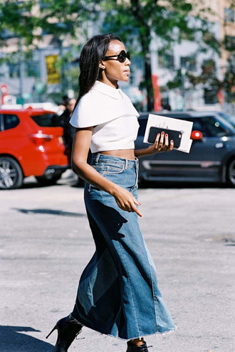 vanessa jackman blogger skirt white top crop tops denim skirt high waisted skirt round sunglasses black boots ankle boots black girls killin it black girls slayin maxi skirt blue shirt blue skirt patchwork white crop tops black sunglasses high heels boots