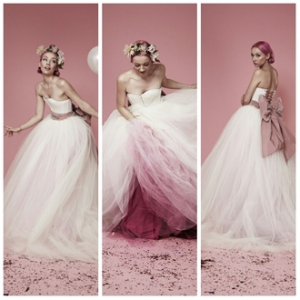 dress tulle dress tulle wedding dress pink pink dress white dress white strapless corset back long dress puffy dress bow
