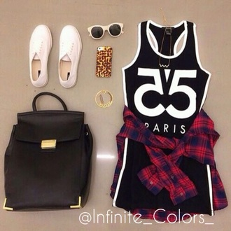 tank top number shirt black and white