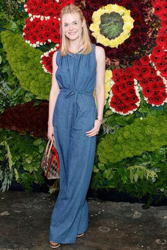 le fashion image blogger jumpsuit bag shoes denim jumper wide-leg pants